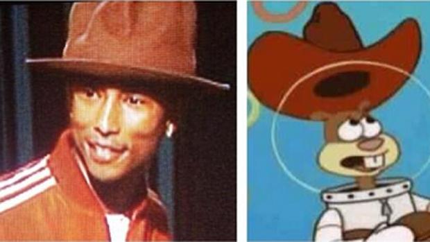 O cantor e produtor Pharrell Williams é comparado com Sandy, do desenho Bob Esponja
