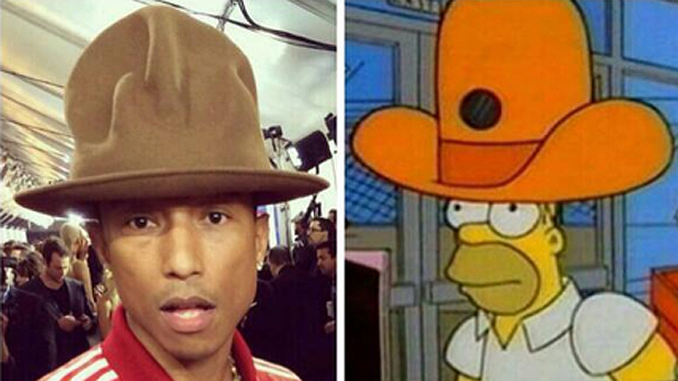 Teria Pharrell Williams se inspirado em Homer Simpson para escolher o look do Grammy?