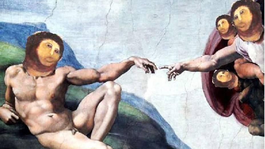 """Imagem do afresco """"restaurado"""" por idosa na Espanha, em reprodução da pintura do teto da Capela Sistina"""