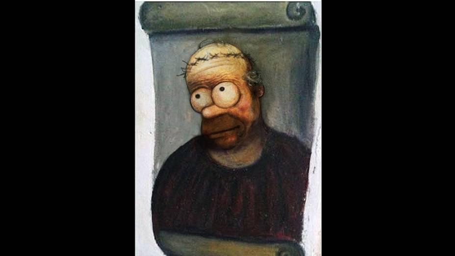 """Meme da obra """"restaurada"""" por idosa na Espanha ganha versão com o personagem Homer Simpson"""