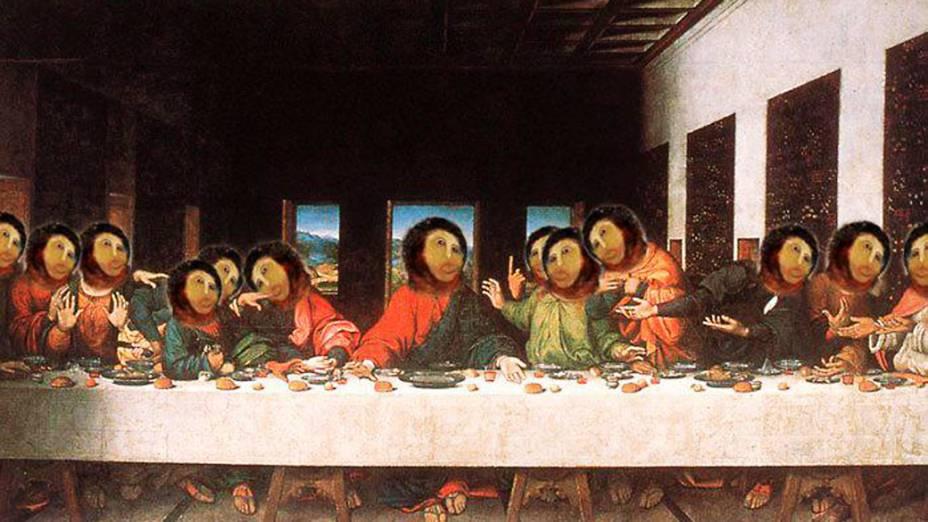 """Imagem do afresco """"restaurado"""" por idosa na Espanha, ganha versão da Santa Ceia de Leonardo da Vinci"""