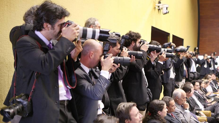 Fotógrafos durante julgamento do mensalão, em Brasília