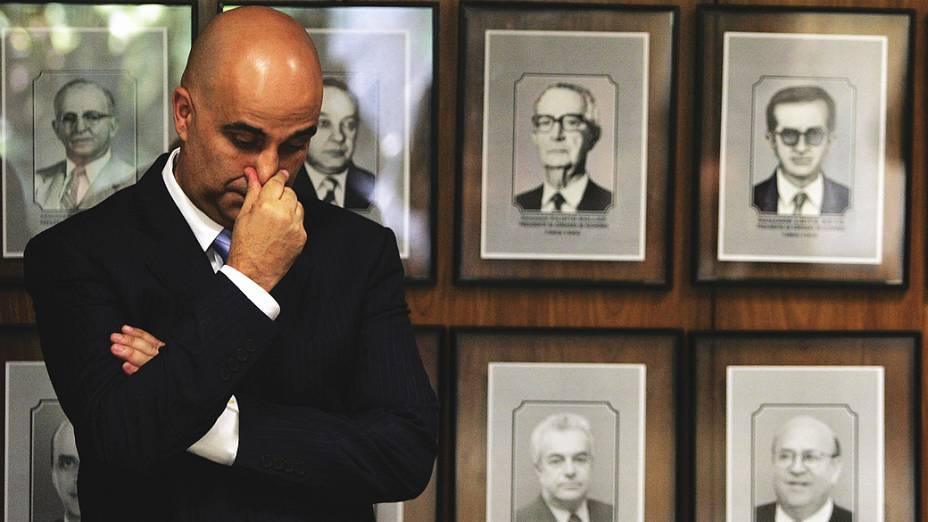 O empresário Marcos Valério Fernandes de Souza, durante acareação com o ex-tesoureiro do PT Delúbio Soares em sessão da CPI Mista da Compra de Votos (mensalão), no Congresso Nacional