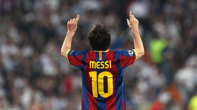Lionel Messi, do Barcelona, após marcar o segundo gol no jogo contra o Real Madrid, na semifinal da Liga dos Campeões em Madri, Espanha