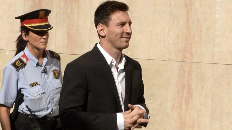 Messi chega à audiência em que responde à acusação de fraude fiscal