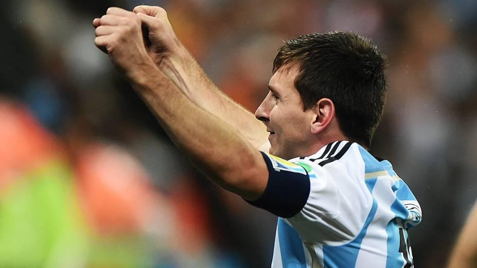 Messi comemora classificação da Argentina para a final da Copa do Mundo, no Itaquerão em São Paulo