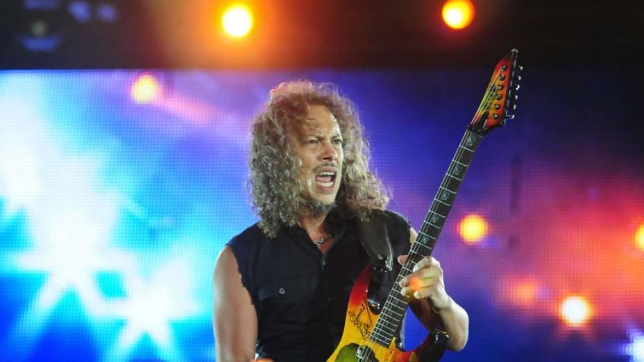 Kirk Hammett durante o show do Metallica no palco Mundo, no terceiro dia do Rock in Rio, em 25/09/2011