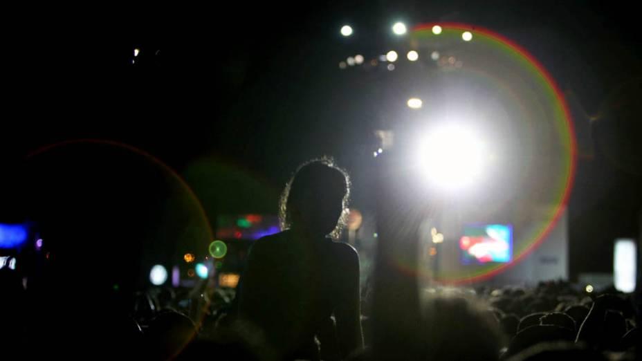 Fãs durante o show do Metallica no palco Mundo, no terceiro dia do Rock in Rio, em 25/09/2011