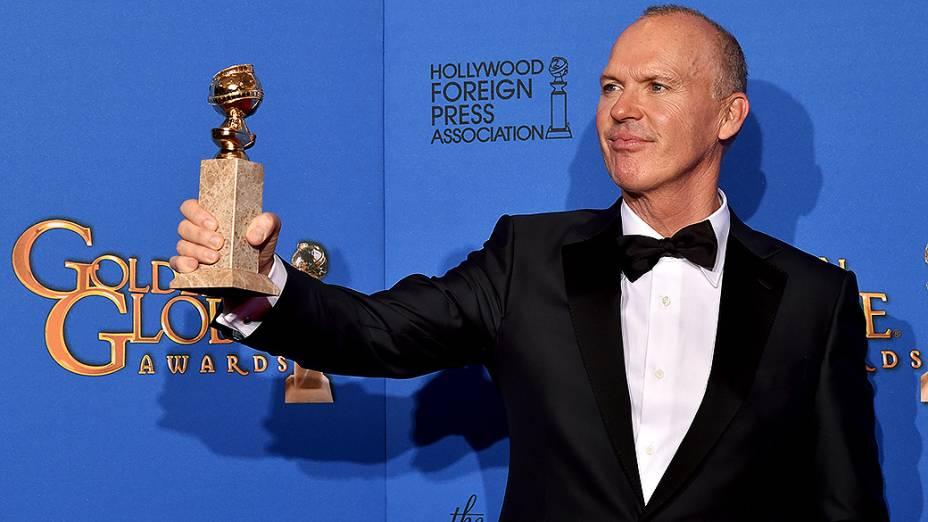 Michael Keaton durante 72ª edição do Globo de Ouro, prêmio da associação de correspondentes de Hollywood que elege os melhores do cinema e da TV, em Los Angeles, nos EUA