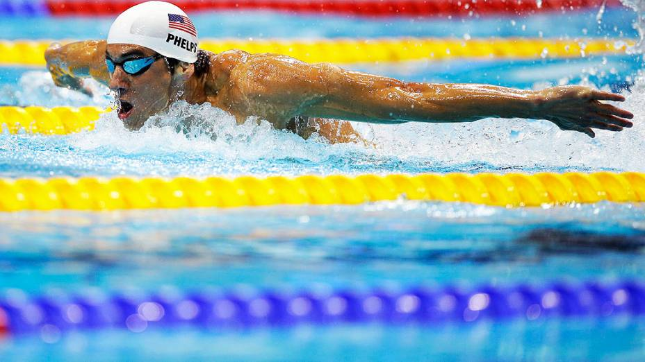 O nadador americano Michael Phelps durante eliminatória dos 200 m borboleta no Centro de Esportes Aquáticos, em 30/07/2012