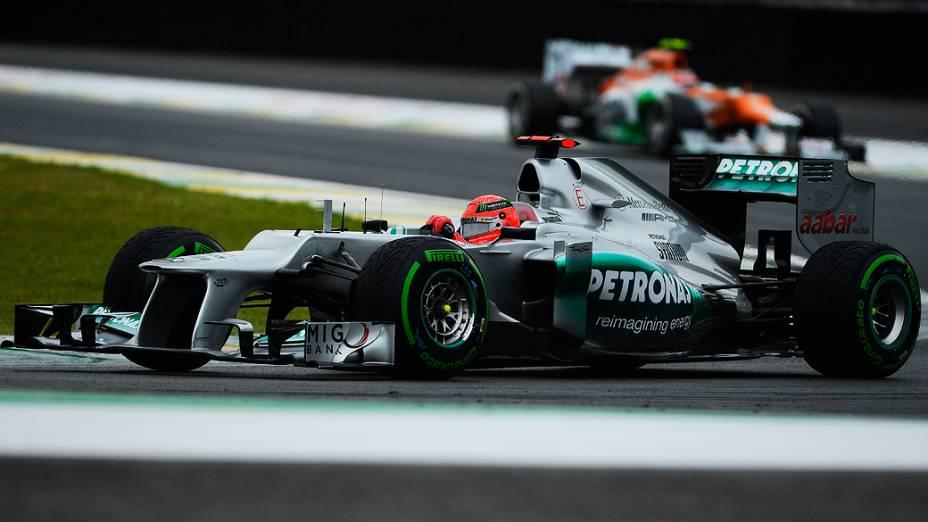 Michael Schumacher durante o GP do Brasil de Fórmula 1, em Interlagos
