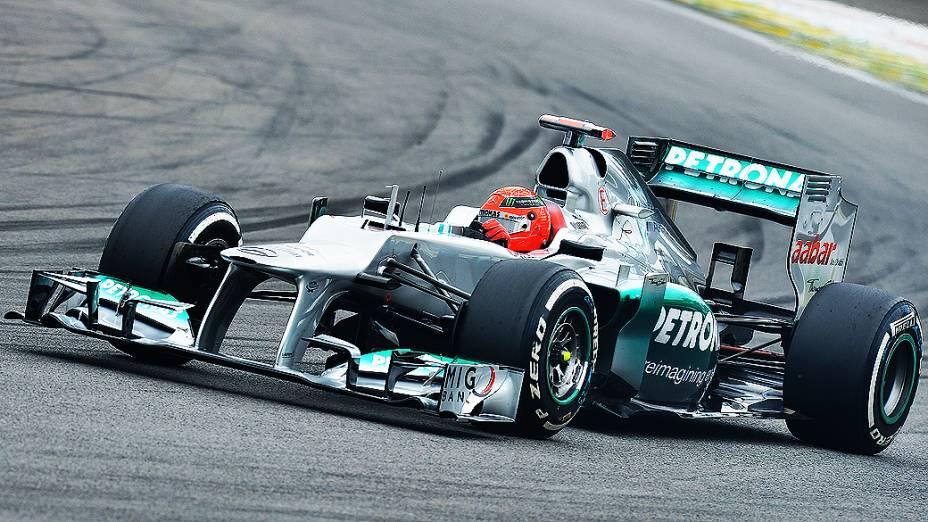 Michael Schumacher, durante treino classificatório para o GP do Brasil