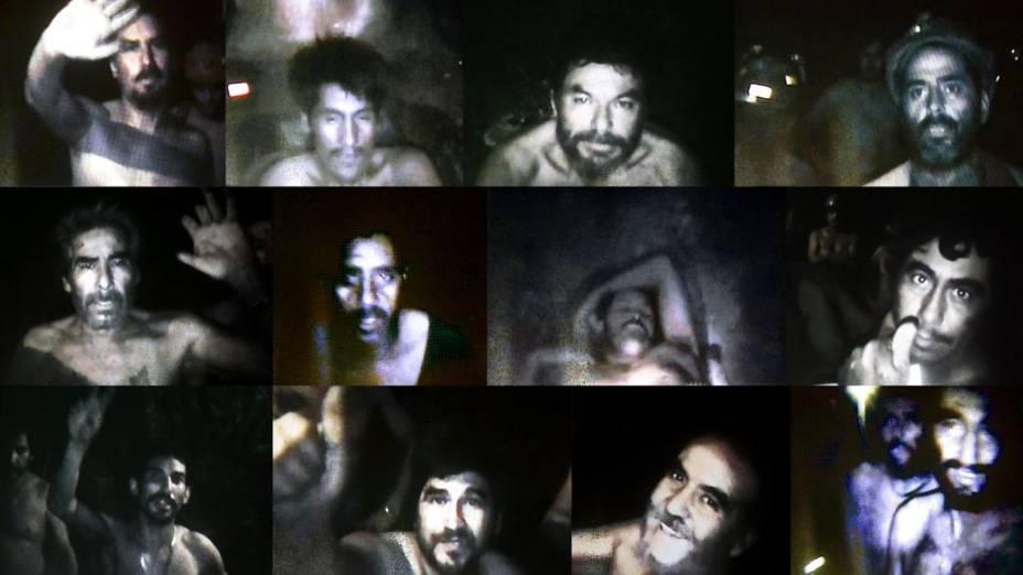 Imagem mostrando os mineiros presos na mina, Chile