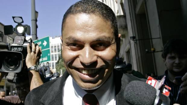 O advogado e policial militar aposentado Mizael Bispo de Souza, no dia em que prestou depoimento sobre a morte de Mércia