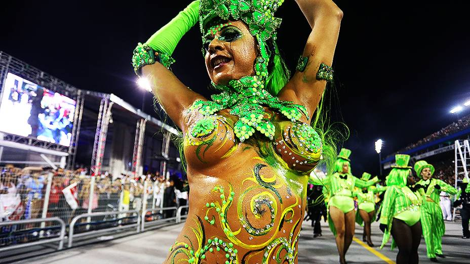 Musa no desfile da Mocidade Alegre no Carnaval de São Paulo