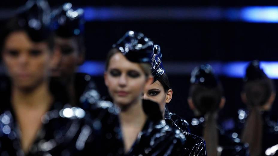 Modelos durante concurso de aparência em Xangai, China