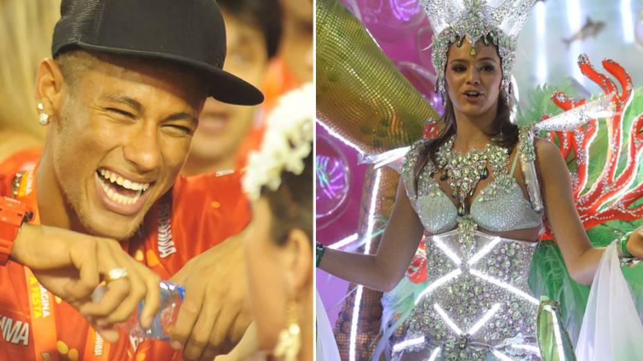 Neymar curte o carnaval do camarote da Sapucaí, enquanto Bruna Marquezine desfila pela Grande Rio