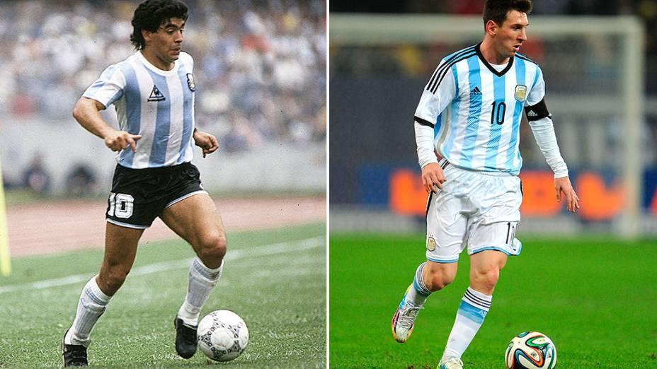 Maradona com o uniforme clássico da Argentina e Messi com a roupa toda branca para o Mundial de 2014