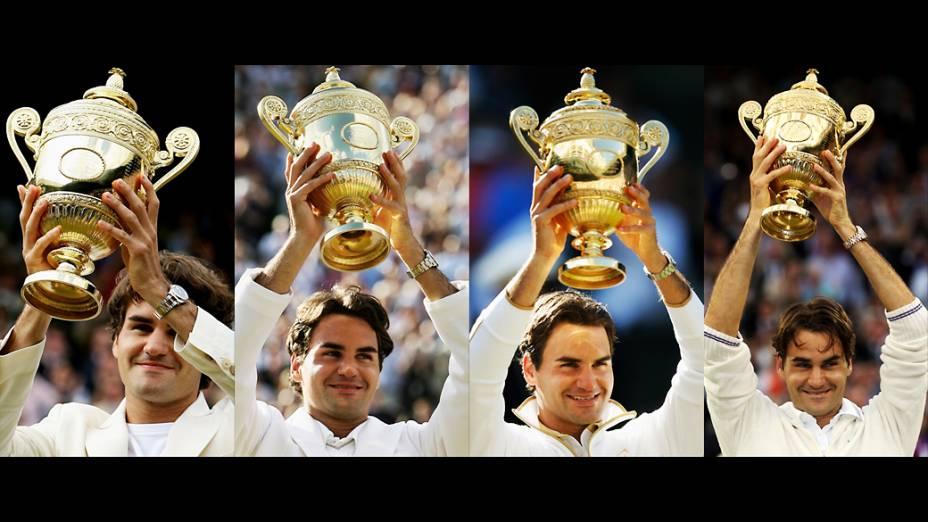 Títulos de Roger Federer em Wimbledon nos anos de 2006, 2007, 2009 e 2012
