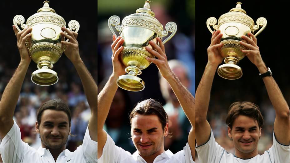 Títulos de Roger Federer em Wimbledon nos anos de 2003, 2004 e 2005