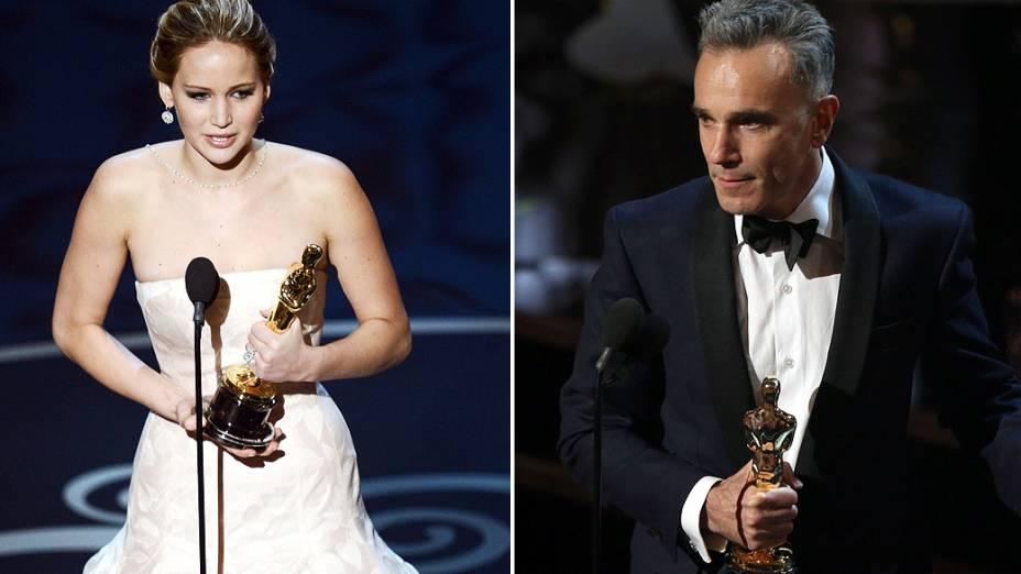 Vencedores nas categorias de Melhor Atriz e Melhor Ator no Oscar 2013 Jennifer Lawrence e Daniel Day-Lewis