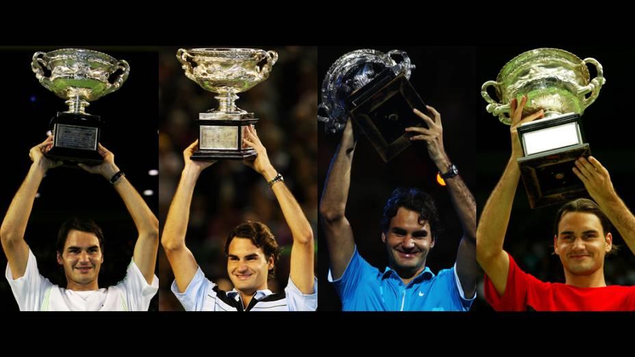 Títulos de Roger Federer no Australian Open nos anos de 2004, 2006, 2007 e 2010