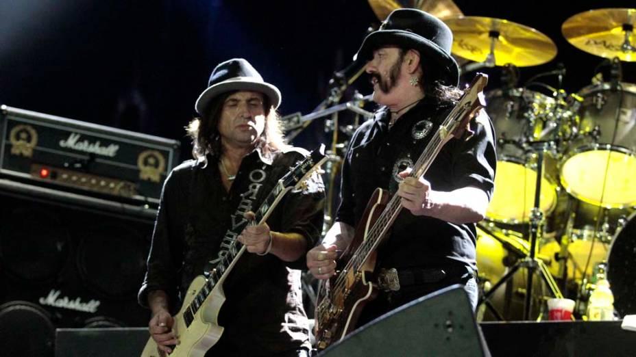 Phil Campbell e Lemmy Kilmister durante o show do Motörhead no palco Mundo, no terceiro dia do Rock in Rio, em 25/09/2011
