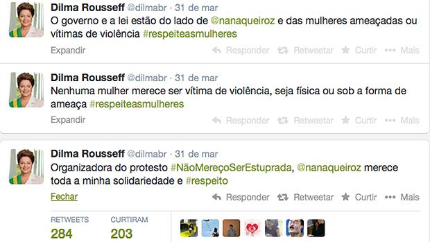 Dilma citou campanha idealizada por Nana Queiroz