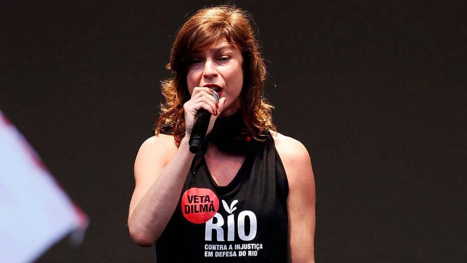 Maria Paula durante o protesto Veta Dilma, no Rio de Janeiro
