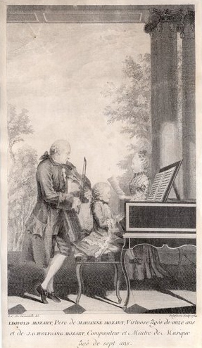 Gravura de Jean-Baptiste Delafosse que mostra Mozart, sua irmã e seu pai, Leopold no violino