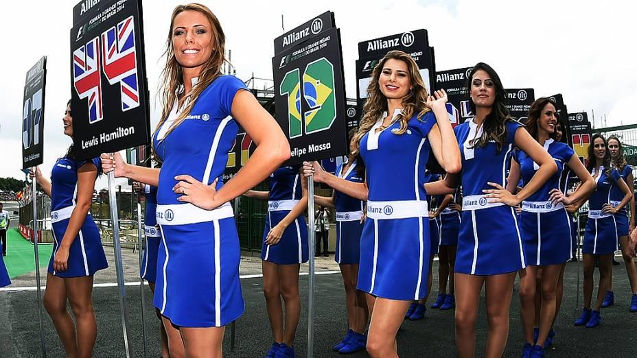 As mulheres no GP do Brasil no Autódromo de Interlagos em São Paulo, nas arquibancadas e nos boxes