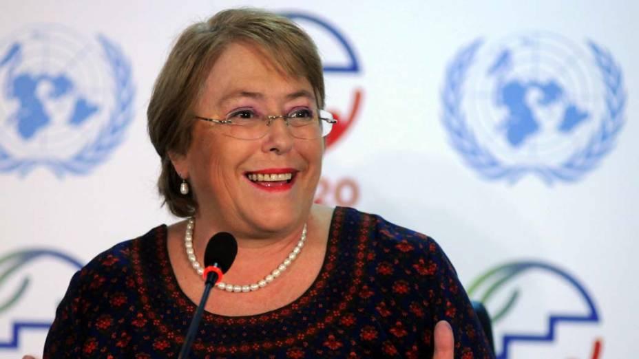 A diretora da ONU Mulher, Michelle Bachelet, durante conferência na Rio+20