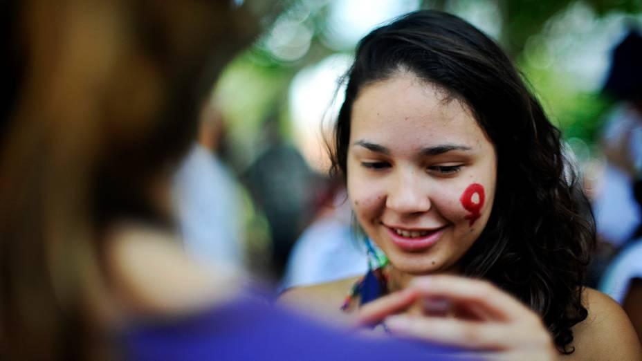 Mulheres de todos os estados do Brasil participantes da Cúpula dos Povos, evento paralelo da Rio+20, fazem protesto nas ruas da cidade