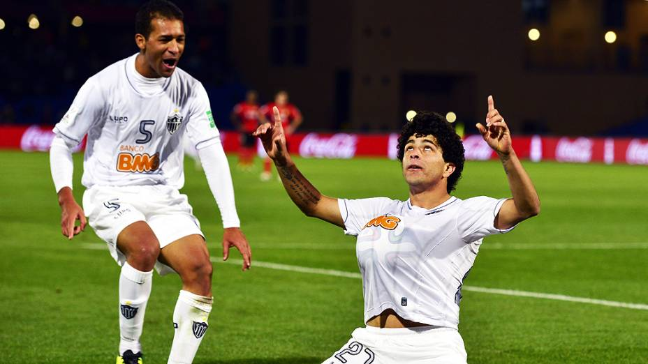Luan do Atlético Mineiro comemora o gol durante a disputa terceiro lugar no Mundial de Clubes contra Guangzhou Evergrande da China, no Grand Stade de Marrakech (Marrocos)