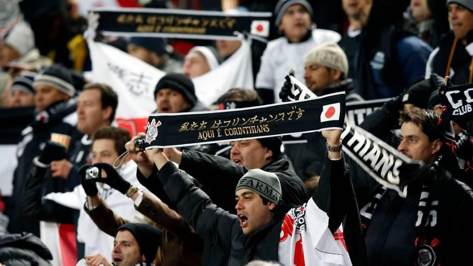 Torcida do Corinthians empurrao time na partida contra o Al Ahly pela semifinal do Mundial de Clubes da Fifa em Toyota