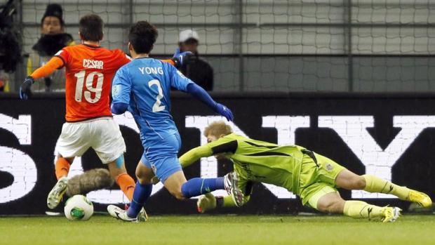 Cesar Delgado marca o segundo gol do Monterrey (MEX) contra o Ulsan Hyundai (Coreia do Sul) nas quartas de final do Mundial de Clubes 2012