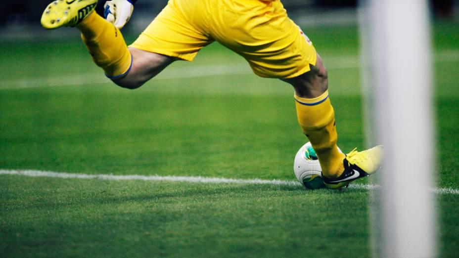Goleiro Cássio do Corinthians durante partida contra o Al Ahly pela semifinal do Mundial de Clubes da Fifa em Toyota
