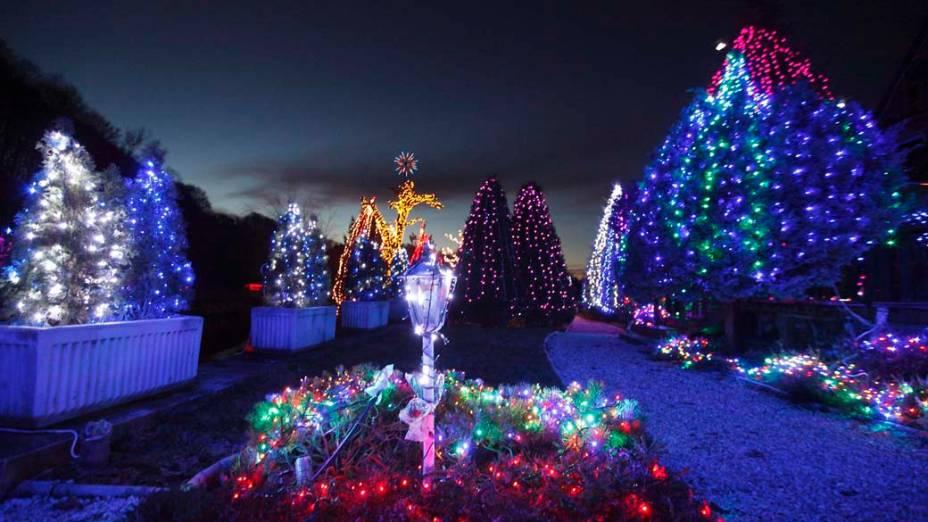 Decoração de Natal em uma casa de campo em Grabovnica, Croácia