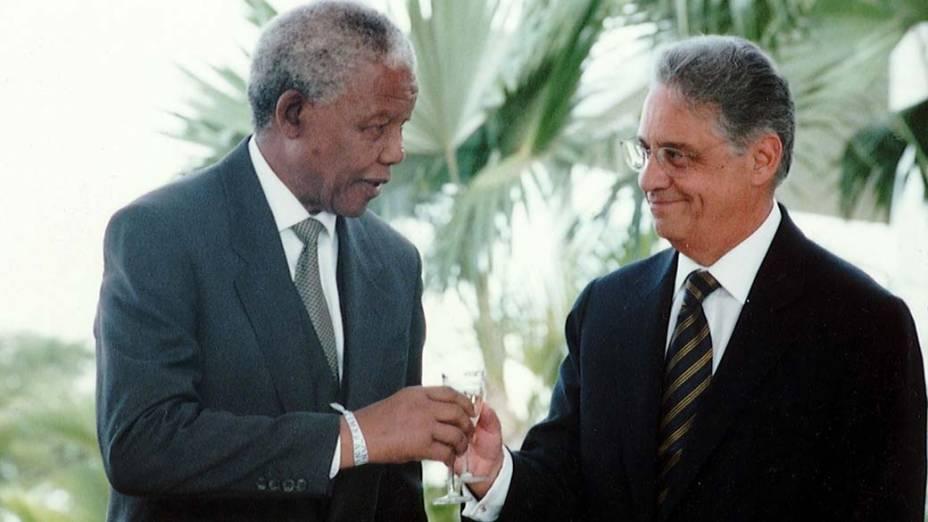 Nelson Mandela com Fernando Henrique Cardoso em Brasília