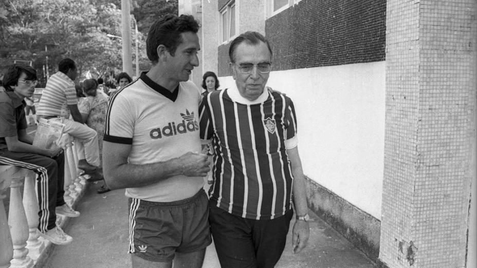 Sebastião Araujo, técnico do Fluminense, e Nelson Rodrigues, em 1979