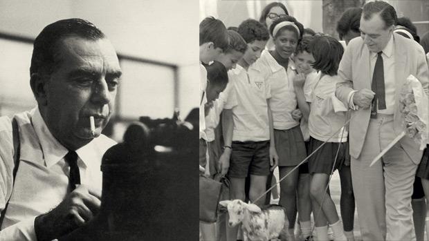 """Nelson diverte crianças de colégio com uma encarnação da """"cabra vadia"""", personagem que testemunhava entrevistas imaginárias que ele conduzia num terreno baldio: o olhar do jornalista alimentava o talento do escritor"""
