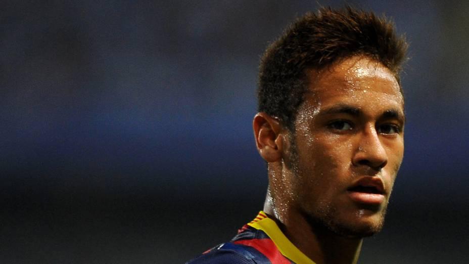 Neymar durante partida Málaga x Barcelona, válida pelo campeonato espanhol