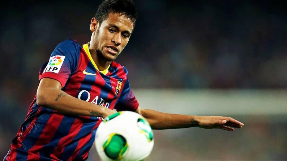 Neymar, titular ao lado de Messi diante do Atlético de Madrid: empate sem gols