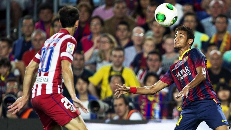 Neymar do Barcelona é titular ao lado de Messi diante do Atlético de Madri, no Camp Nou, pela final da Supercopa da Espanha, nesta quarta-feira (