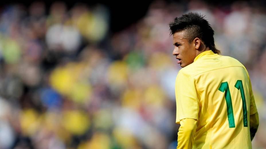 Neymar em amistoso da seleção contra a Escócia, em Londres, no ano passado
