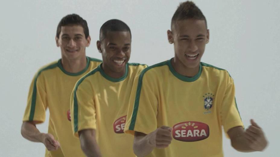 Ganso, Robinho e Neymar em anúncio da Seara