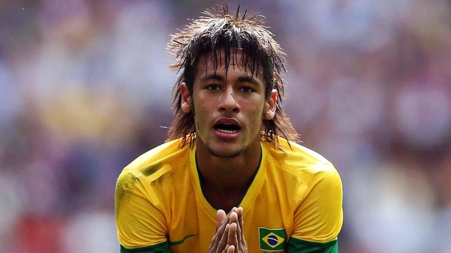 O jogador Neymar durante jogo da seleção brasileira