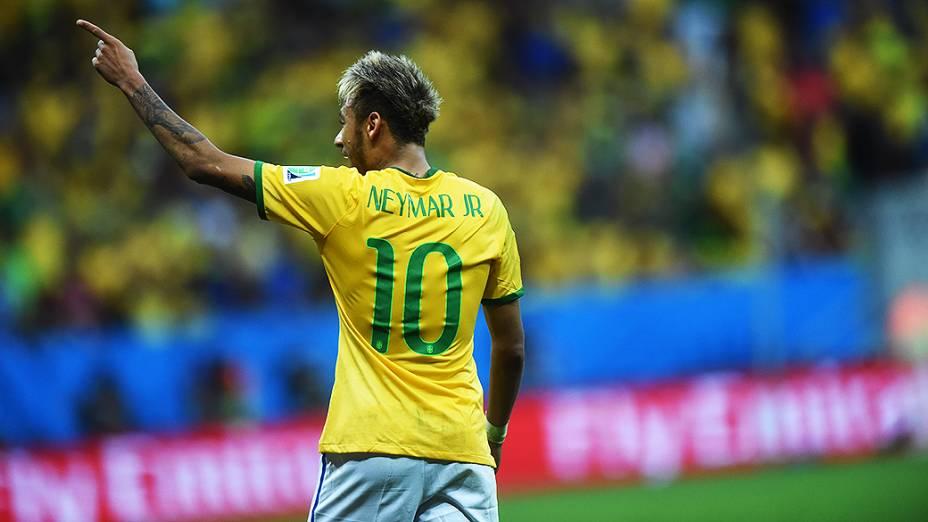 Neymar durante o jogo contra Camarões no Mané Garrincha, em Brasília