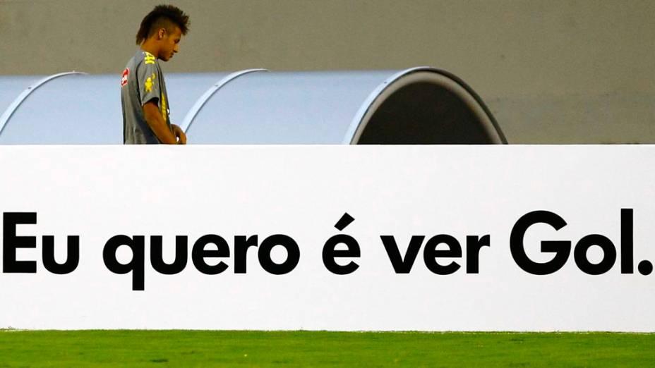 Neymar em treino para o amistoso contra a Holanda, em Goiânia