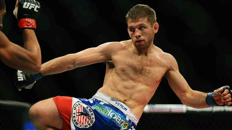 O americano Nik Lentz vence o brasileiro Hacran Dias no UFC Jaraguá do Sul, norte de Santa Catarina